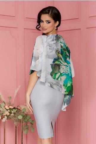Rochie Lily gri cu voal imprimat floral stil capa