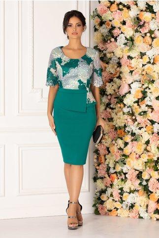 Rochie Lily verde cu broderie florala la bust si peplum in talie
