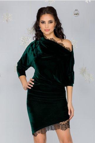 Rochie Linda verde din catifea cu insertii din dantela