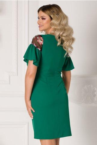 Rochie Lisa verde cu insertii din organza si broderie florala