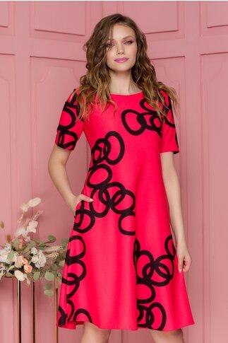 Rochie Livia rosu zmeura cu imprimeu geometric negru