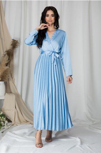Rochie Lizzie lunga bleu satinata cu fusta plisata