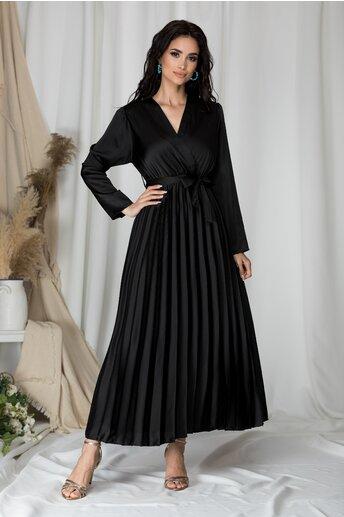 Rochie Lizzie lunga neagra satinata cu fusta plisata