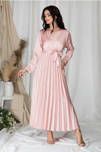 Rochie Lizzie lunga roz satinata cu fusta plisata