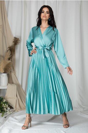 Rochie Lizzie lunga verde mint satinata cu fusta plisata