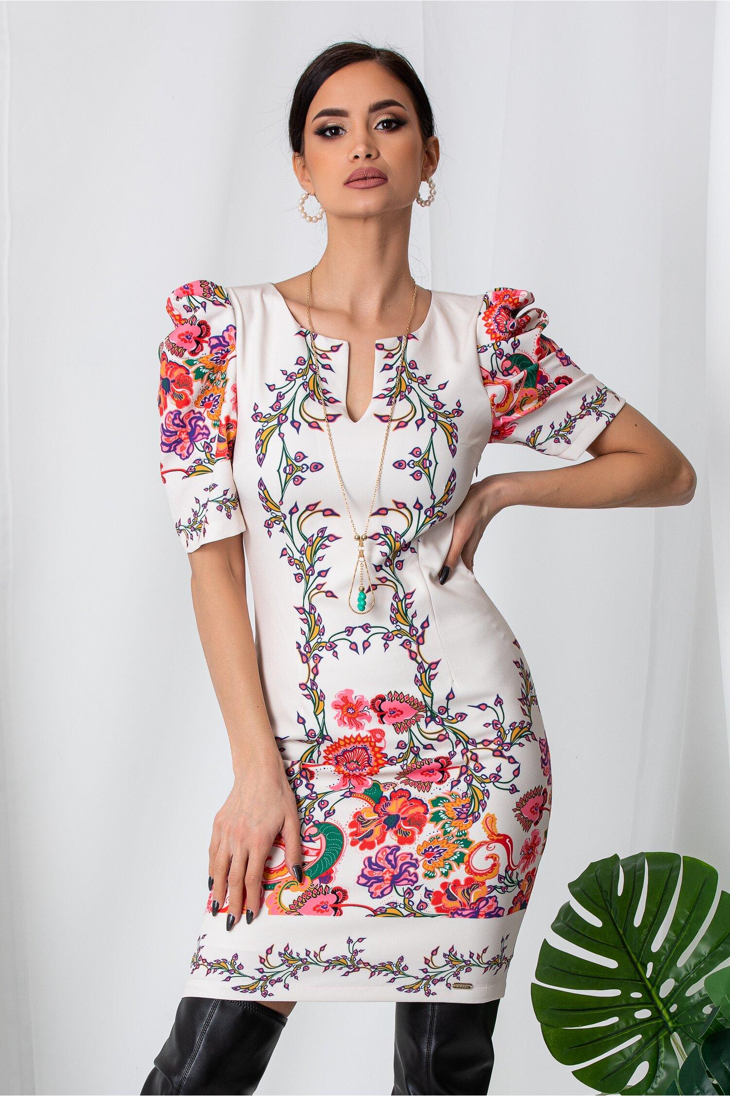 Rochie Lora ivory cu imprimeuri florale