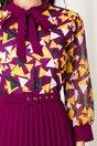 Rochie Lora mov cu fusta plisata si imprimeu geometric galben la bust