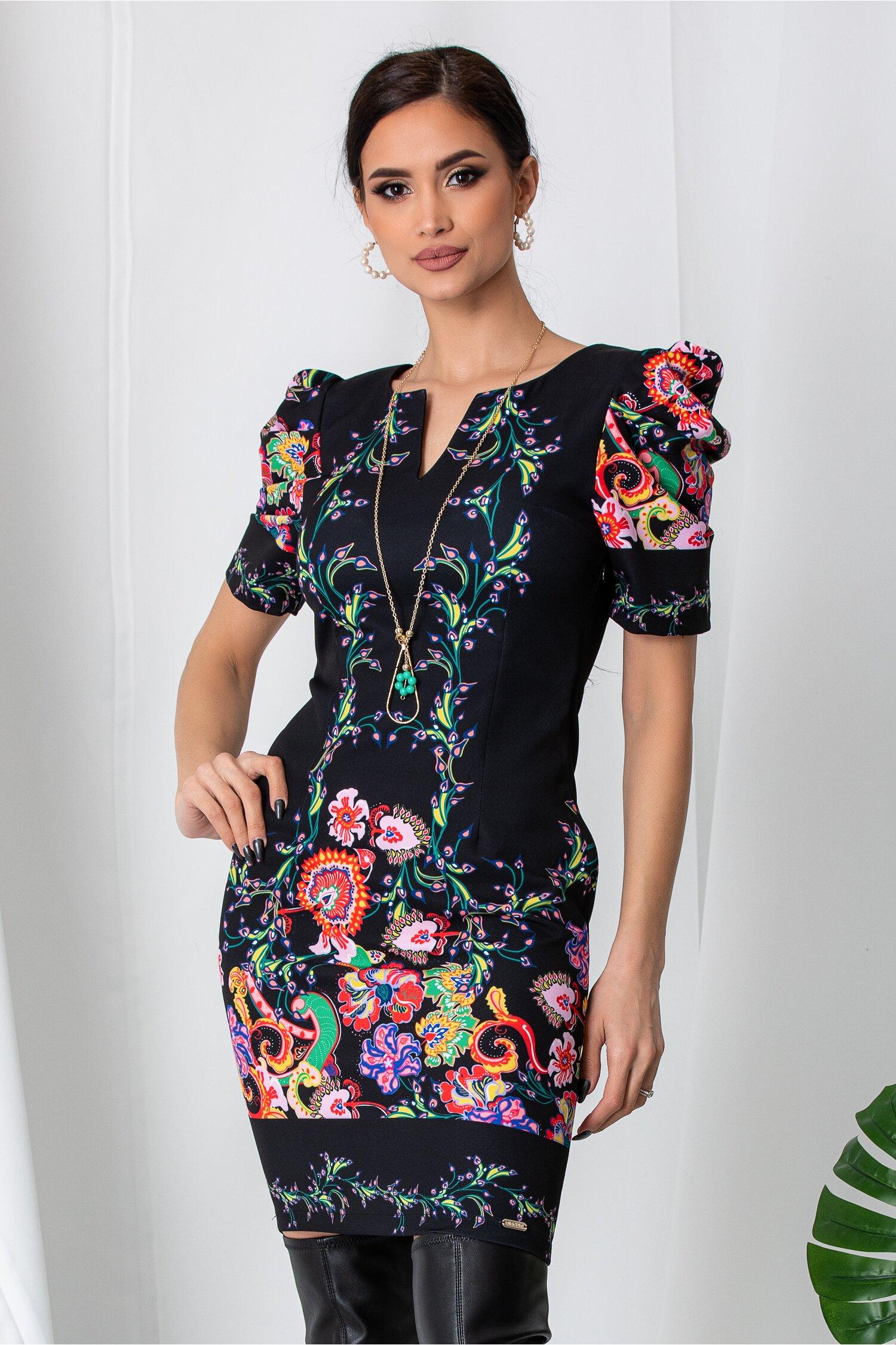 Rochie Lora neagra cu imprimeuri florale
