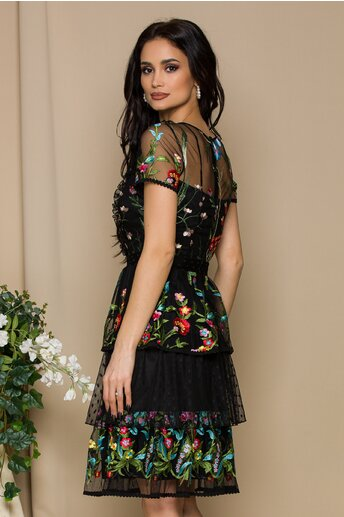 Rochie Lora neagra din tull cu broderie florala si volane
