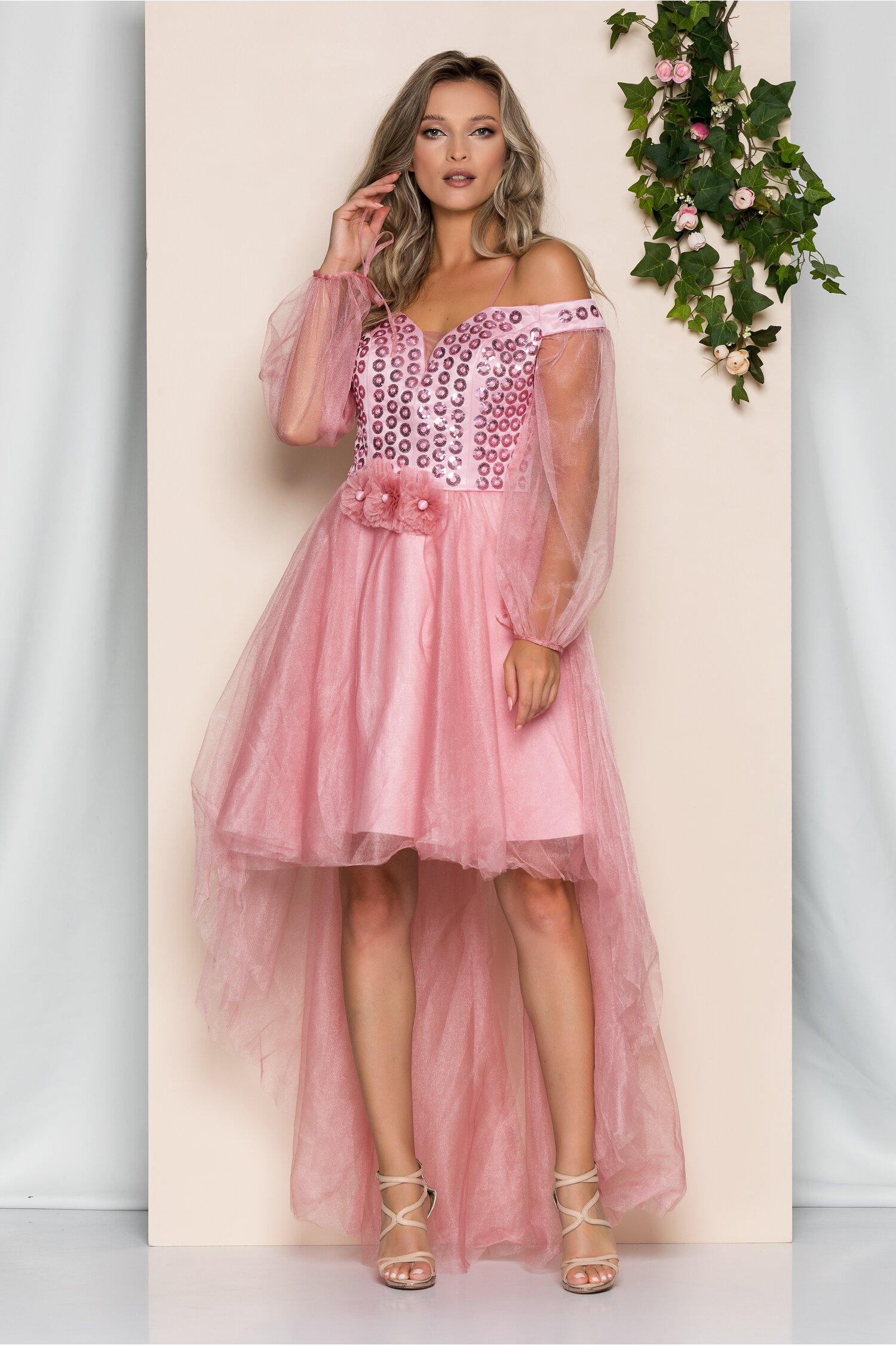 Rochie Lora roz din tulle cu decolteu en-coeur si paiete