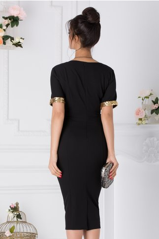Rochie Lore neagra cu paiete aurii