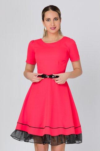 Rochie Lorelai rosu zmeura accesorizata cu organza la baza
