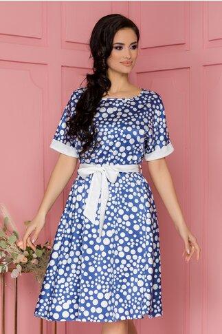 Rochie Lorena albastra cu buline albe