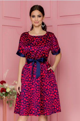 Rochie Lorena bleumarin cu buline rosii