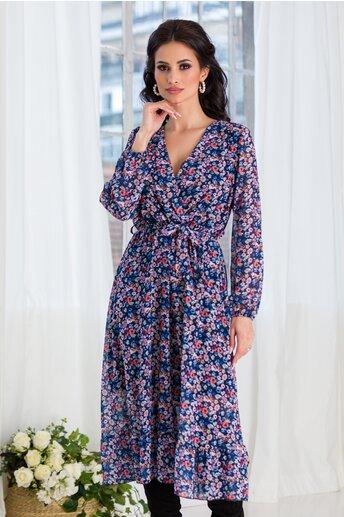 Rochie Lorena din voal bleumarin cu flori marunte colorate