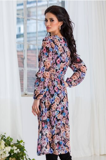 Rochie Lorena din voal neagra cu imprimeuri florale colorate