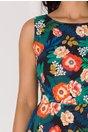 Rochie Lorena neagra cu imprimeu floral colorat