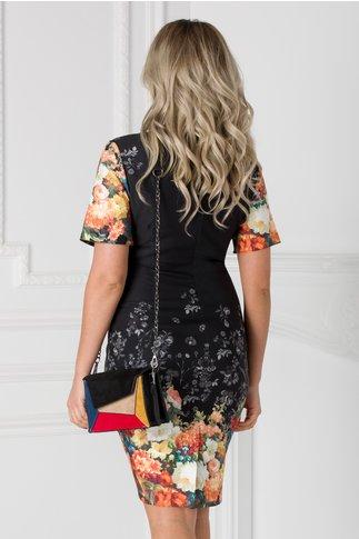 Rochie Lorena neagra cu imprimeu floral orange
