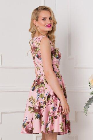 Rochie Lorena roz pudrat cu imprimeu floral