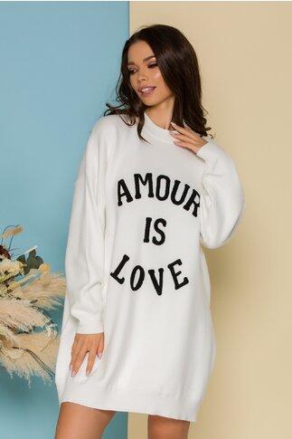 Rochie Love alba casual oversize din tricot