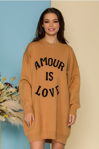 Rochie Love maro camel casual oversize din tricot