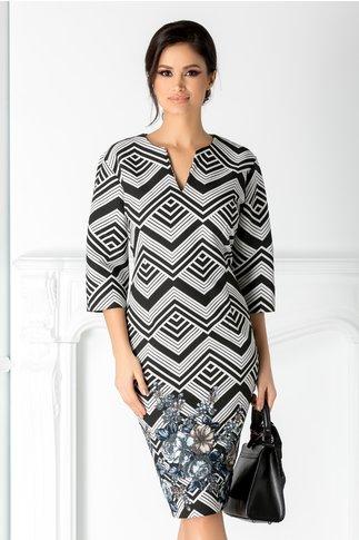 Rochie Lucia neagra cu imprimeu alb in zig-zag