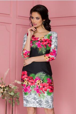Rochie Luciana cu imprimeuri florale dinamice