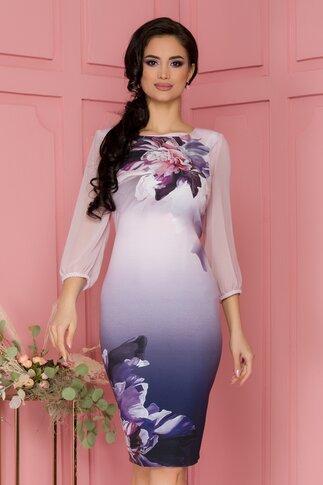 Rochie Lucy lila in degrade cu imprimeu floral maxi