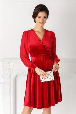 Rochie Lucy rosie din catifea cu maneci din voal