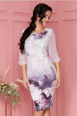 Rochie Lucy roz pal cu imprimeu floral maxi