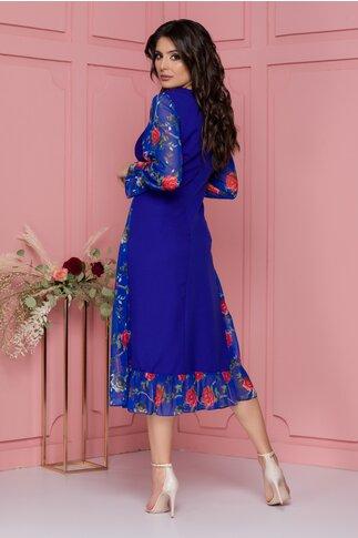 Rochie Luisa albastra cu imprimeu floral