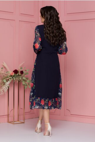 Rochie Luisa bleumarin cu imprimeu floral