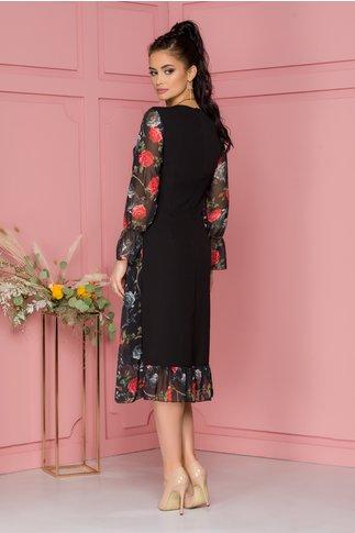 Rochie Luisa neagra cu imprimeu floral