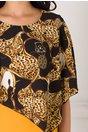 Rochie Luiza galbena cu voal negru la bust si imprimeuri