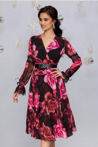 Rochie Luiza neagra cu imprimeuri florale roz