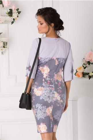 Rochie Luna lila cu imprimeu floral