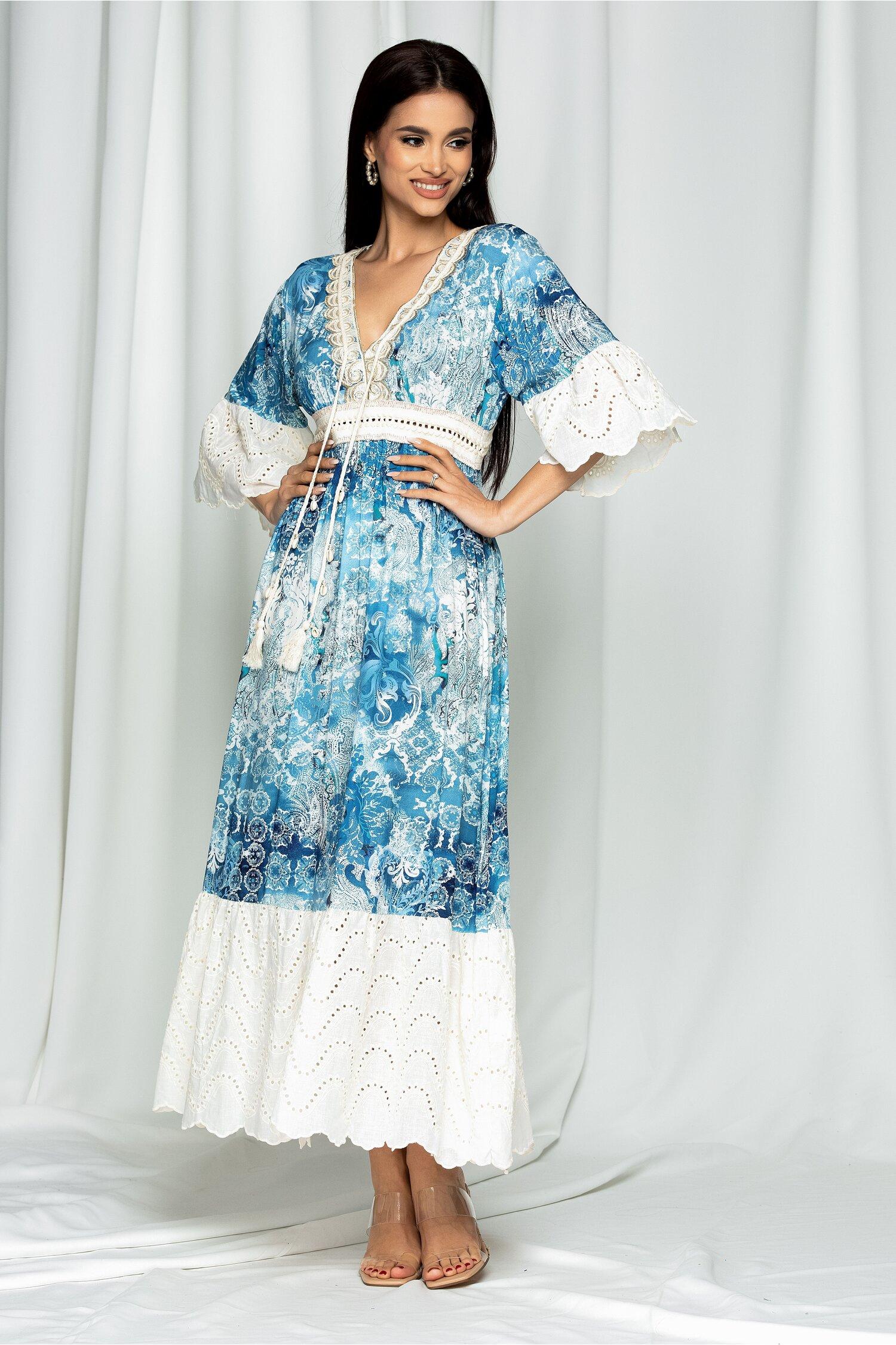 Rochie lunga de vara Elisa albastra cu perforatii si snur la decolteu