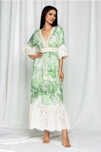 Rochie lunga de vara Elisa verde cu perforatii si snur la decolteu