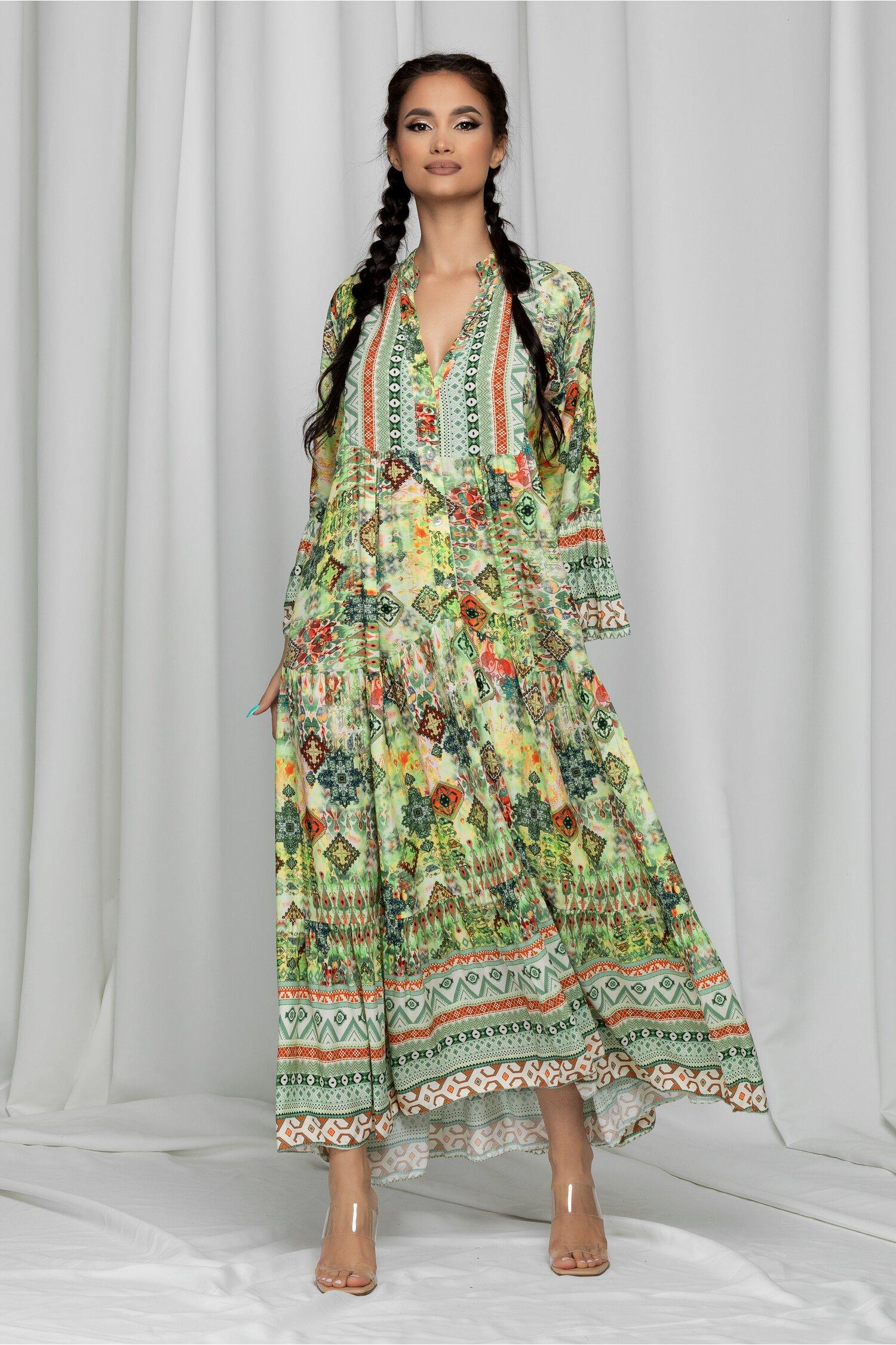 Rochie lunga Edna verde deschis cu imprimeuri diverse
