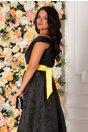 Rochie lunga Ivonna neagra cu imprimeu floral galben