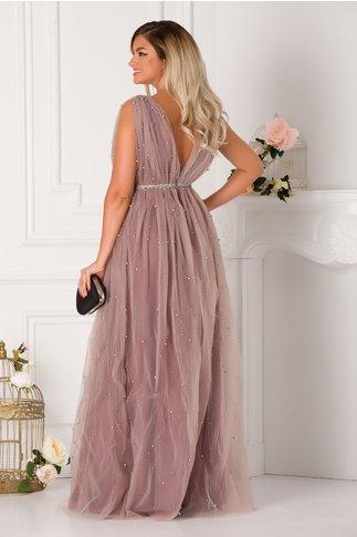 Rochie lunga LaDonna lila prafuit cu perle