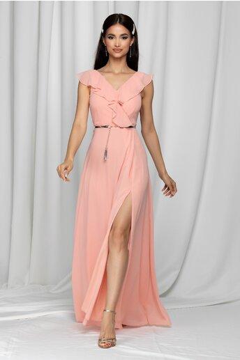 Rochie lunga Lexy roz din voal accesorizata cu o curea in talie