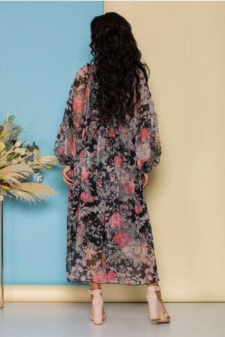 Rochie lunga neagra cu imprimeuri florale roz