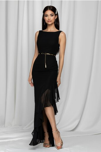 Rochie lunga Quincy neagra cu volan in lateral