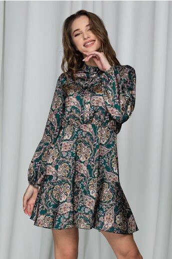 Rochie Luxandra verde cu imprimeu si elastic in talie