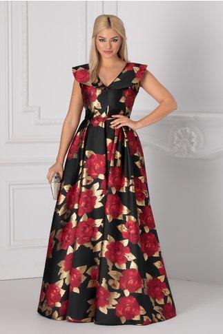 Rochie Luxury neagra lunga cu imprimeu floral si detalii aurii