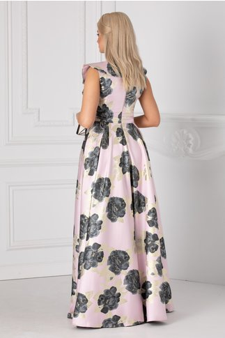 Rochie Luxury roz prafuit lunga cu imprimeu floral si detalii aurii