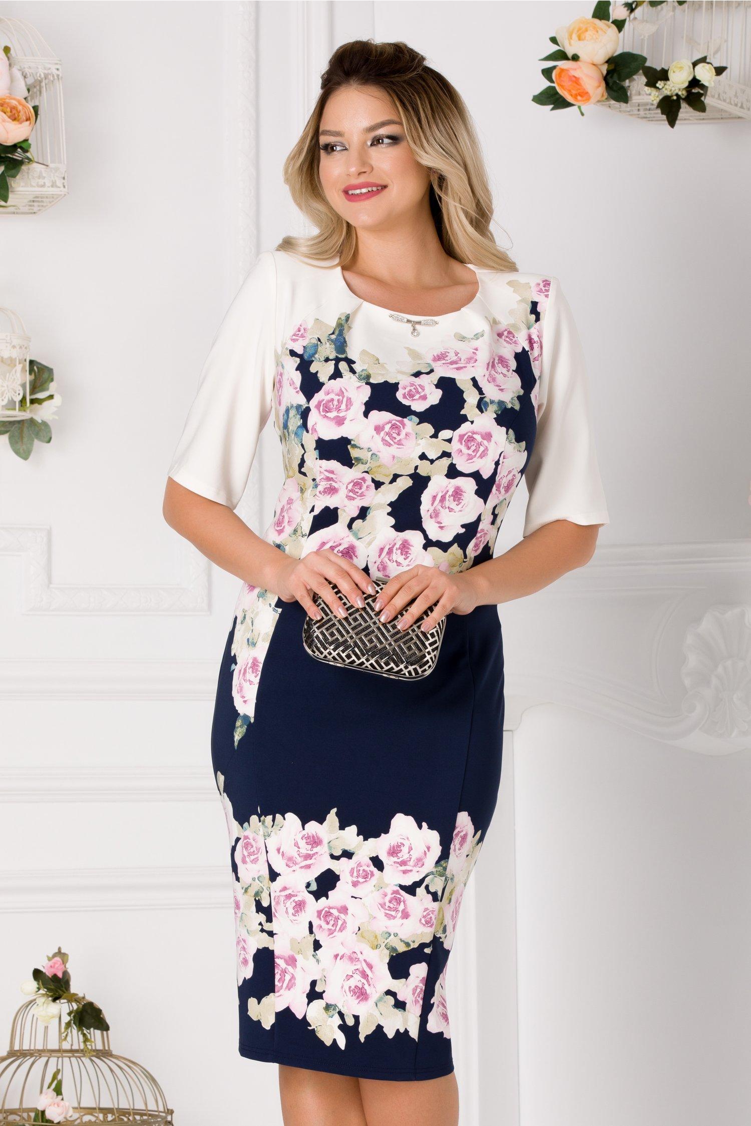 Rochie Madi bleumarin cu imprimeu floral roz si pliuri la guler
