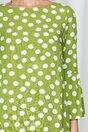 Rochie Madison verde cu buline albe si volan la baza