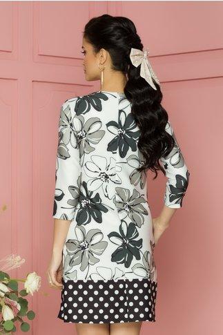 Rochie Maeve alba cu imprimeu floral